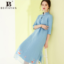 BEIYAYAN Vintage Mandarin Collar Three quarter Sleeves Embroidery Midi Dress Chinese Dress Silk Solid