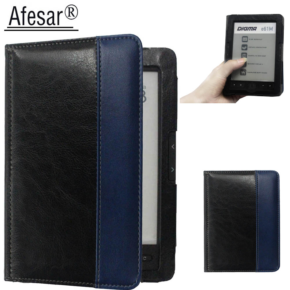 лучшая цена Afesar For Digma e61M eReader 6 inch leather book Cover Case magnetic clasp flip good fit R61M ebook pouch funda