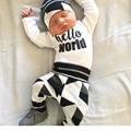 Marca nueva Newborn Baby Girl Boy ropa set letter print Hola mundo 3 unids trajes Tops Pantalones Largos Del bebé Arropa sistemas