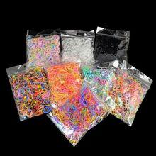 1000 шт./пакет волос резиновый шнур резинкой прозрачный белый 1 мм Очистить тканью; прическа хвостик;: флуоресцентные эластичные резиновые резинка для волос оплёточный станок инструмент