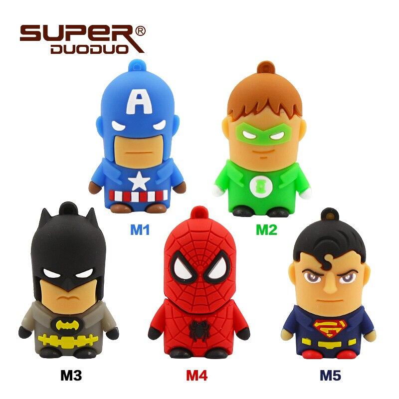 Image 2 - Superheros pendrive 4GB 8GB 16GB cheap Usb flash drive 32GB 64GB cartoon pen drive batman/spiderman/Captain America memoria usb-in USB Flash Drives from Computer & Office