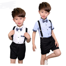 2018 New Summer Children Short Wedding Overall Suits with Bowtie for Boys Kids Performance Suits Boys Formal Suits 3-12 years
