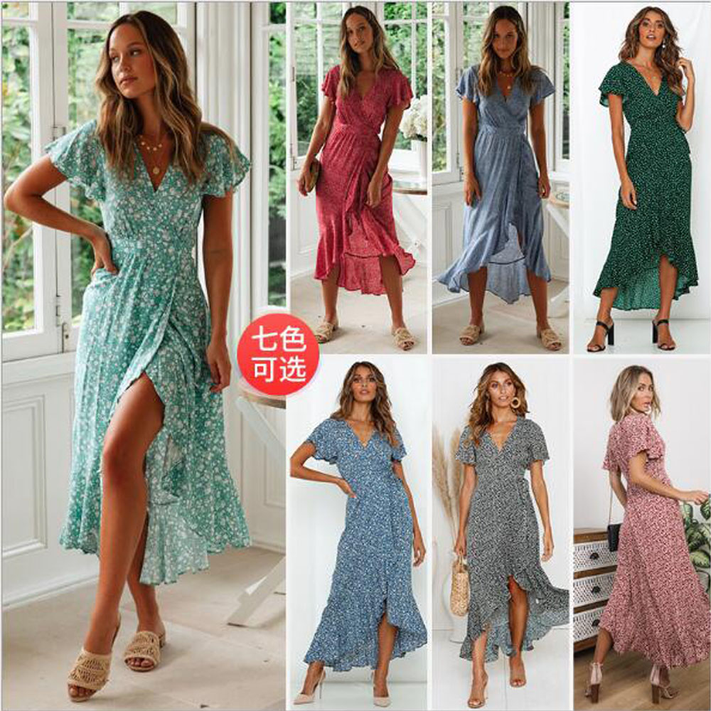 Womens Spaghetti Strap Summer Boho Maxi Long Dress Party Beach Dresses V Neck Split Sundress Floral Halter Dress 2019 New