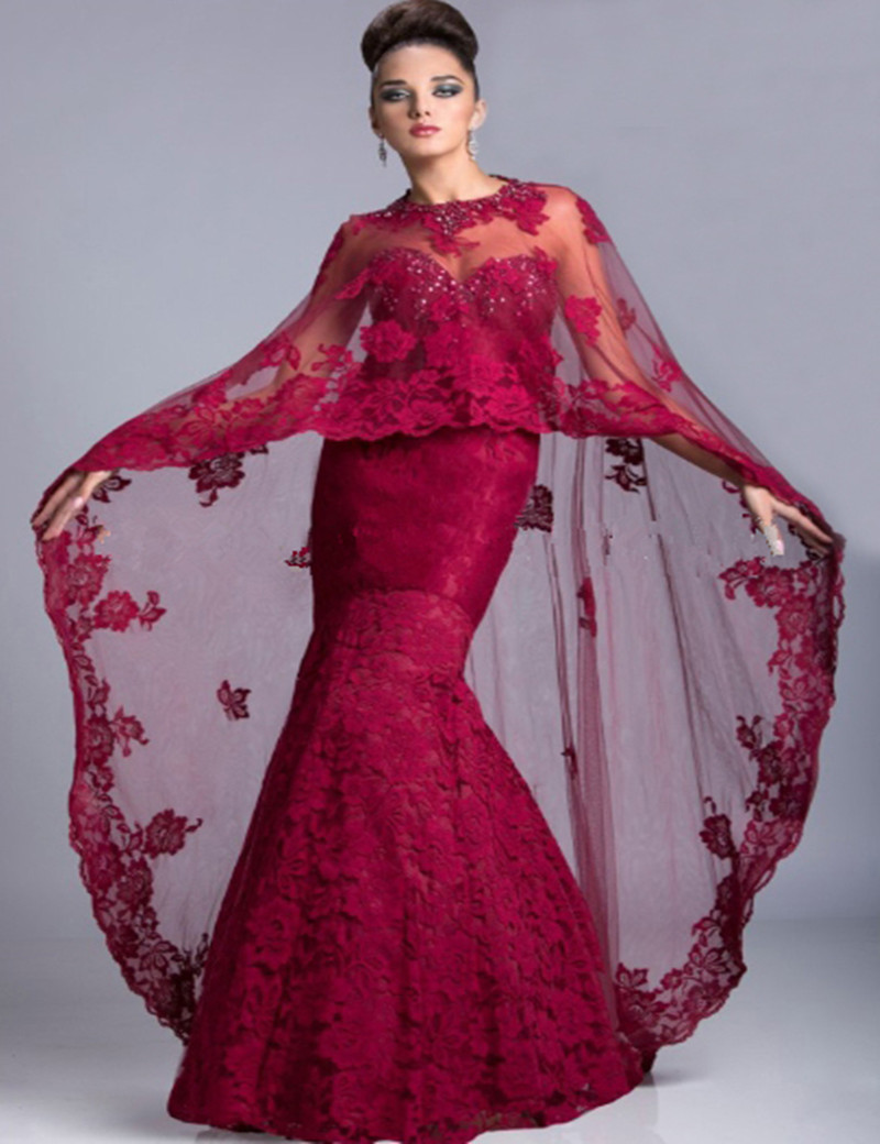 Mother of the Bride Long Dress with Cape