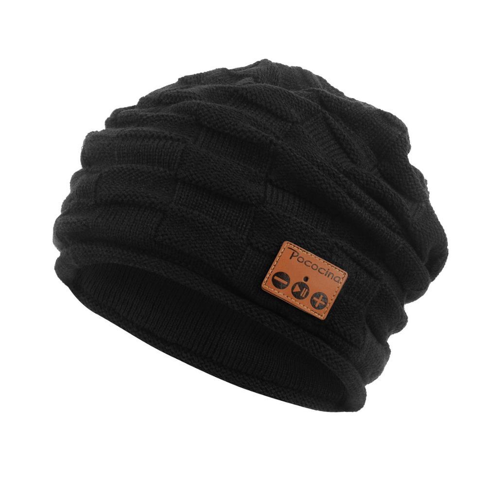 Bluetooth Beanie шляпа с перезаряжаемой унисекс беспроводной Beanies панель управления съемные стерео наушники шерсть вязать музыкальное бини - Цвет: Черный