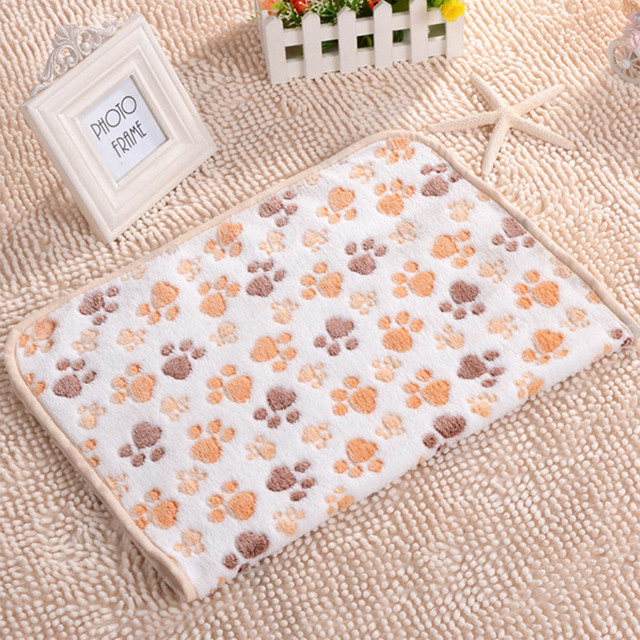 40x60cm Cute Dog Bed Mats Soft Flannel Fleece Paw Foot Print Warm Pet Blanket Sleeping Beds Cover Mat For Small Medium Dogs Cats