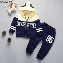 цена на 2020 New Spring Baby Casual Tracksuit Children Boys Girls Hooded Jacket Pants 2Pcs Kids Suit Cotton Infant Clothing Sport Sets