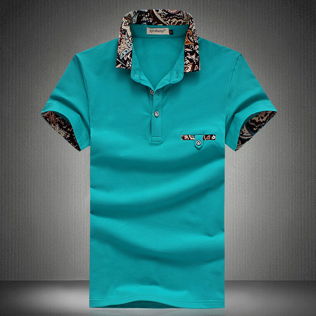 2016 Summer New Men's Polo Shirt Breathable Print Collar Cotton Polos Short Sleeve Casual Slim Men Shirt Plus Size 5XL