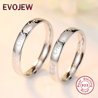 EVOJEW 100 925 Sterling Silver The Only Love Double Ring Sets Wedding Couple Rings For Women