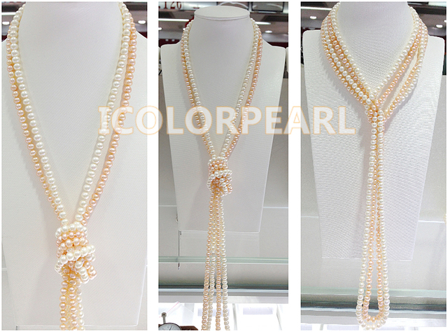 Long (about 125cm) 5-6mm Small Nearround White And Pink Natural Freshwater Pearl Sweater Necklace Jewelry. Two Strands Together.
