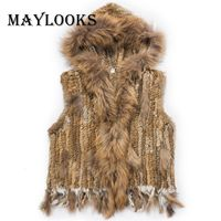2018 Rushed Real Fur Vest Mink Coats Women Fashion Rabbit With Raccoon With Hooded Collar Trimming Waistcoat Of 3 Colors Cs86