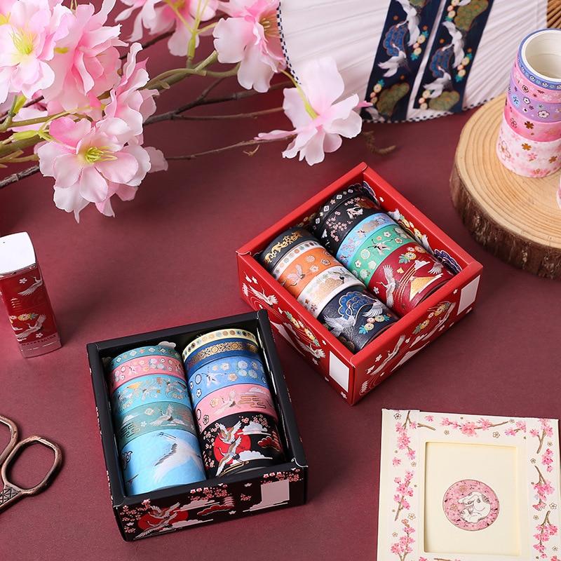 10 Pcs/pack Flower Flying Crane Gilding Bullet Journal Washi Tape Set Adhesive Tape DIY Scrapbooking Sticker Label Masking