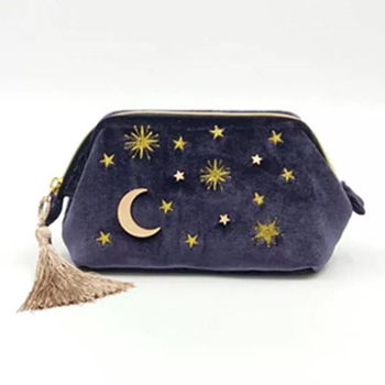 Cute Velvet Embroidery Cosmetic Bag Travel Organizer Women Makeup Bag Zipper Make Up Pouch with Moon Star Tassel Deco 2