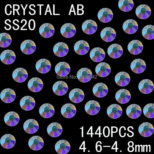 ss20  1440pcs/bag  AB Colors Nail Art Tips Gems Crystal Glitter Rhinestone DIY Decoration Nail Size;4.6-4.8mm Free Shipping