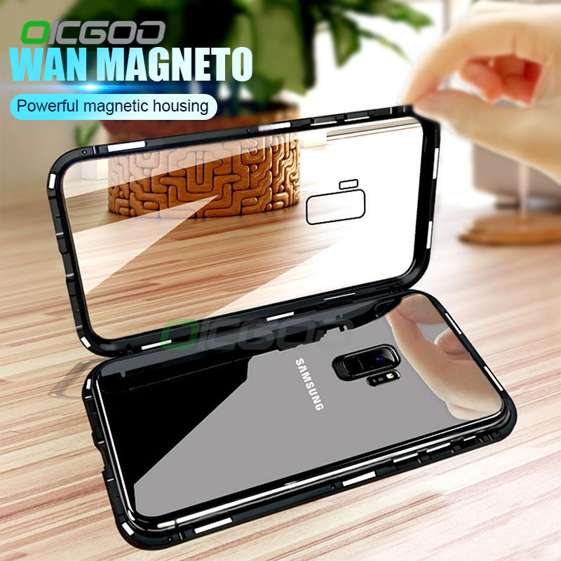 sports shoes ad00f 0ff17 Magnetic Metal Phone Case For Samsung Galaxy S9 S8 Plus Note 8 9 Magnet  Cases Bumper Clear Glass Cover For Samsung Note 9 8 Case