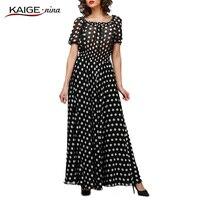 Summer Style Black Polka Dot Maxi Long Dresses Clothing Women Casual Dress for a Floor Print Chiffon Tunic 2167#