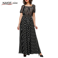 Summer Dress 2015 Black Polka Dot Dresses Garment Women Casual Dress Print Chiffon Cute Vestidos Ladies