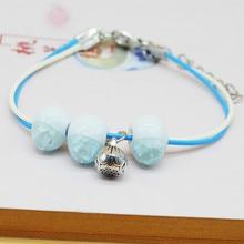 Original New Fashion simple Ceramics bead Girls Bracelet PU Leather cute Lover Lovers Lucky Jewelry Women Gift
