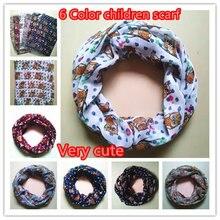 10 шт./партия, 6 цветов, маленький шарф с принтом Совы кольцевая петля для мальчиков и девочек, детские шарфы, Детские аксессуары