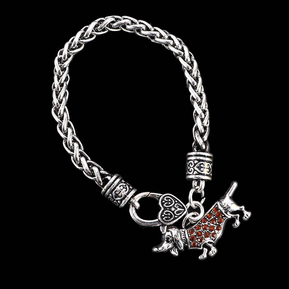 2019 New Lovely Shining Red Crystal Dachshund Dog Bracelets Fashion High Quality Animal Charm Bracelet Jewelry For Women Gift