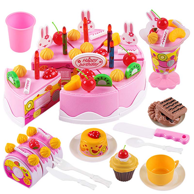 Plastic Toy Food : Pcs birthday cake diy model children kids