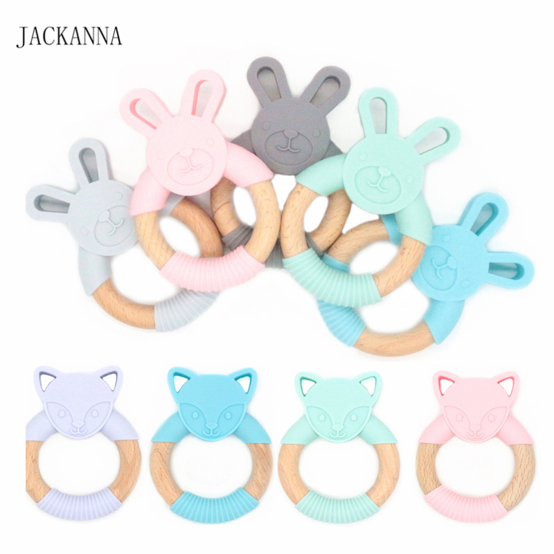 Animal Silicone Teether Wooden Ring 1PC BPA Free Nursing Accessories Chewable Rattle Circle Newborn Shower Gifts Baby Teethers