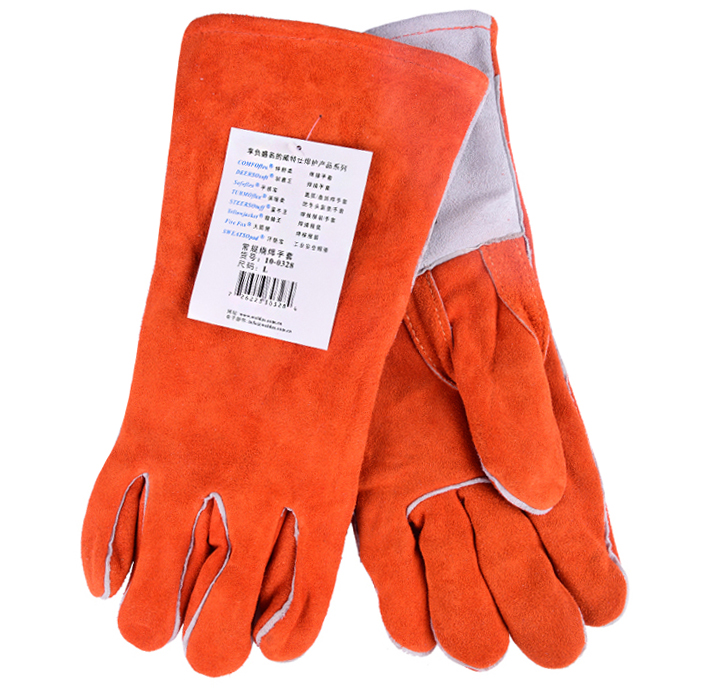 Leather Work Gloves TIG MIG ARC Leather Safety Glove Split Cow Leather Welding Glove oxygen welder safety gloves long sleeve tig mig welding work gloves