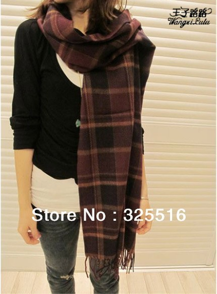 Free Shipping Autumn and Winter Women's Yarn Muffler Scarf Cape multi-use Ultra Long Plaid Scarf  warm scarf purple grid