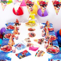 OUSSIRRO Children Birthday Party Supplies 78pcs For 6 kids Spider Man Theme Decorate Dishes And Cup and Flag Paper Party Tools