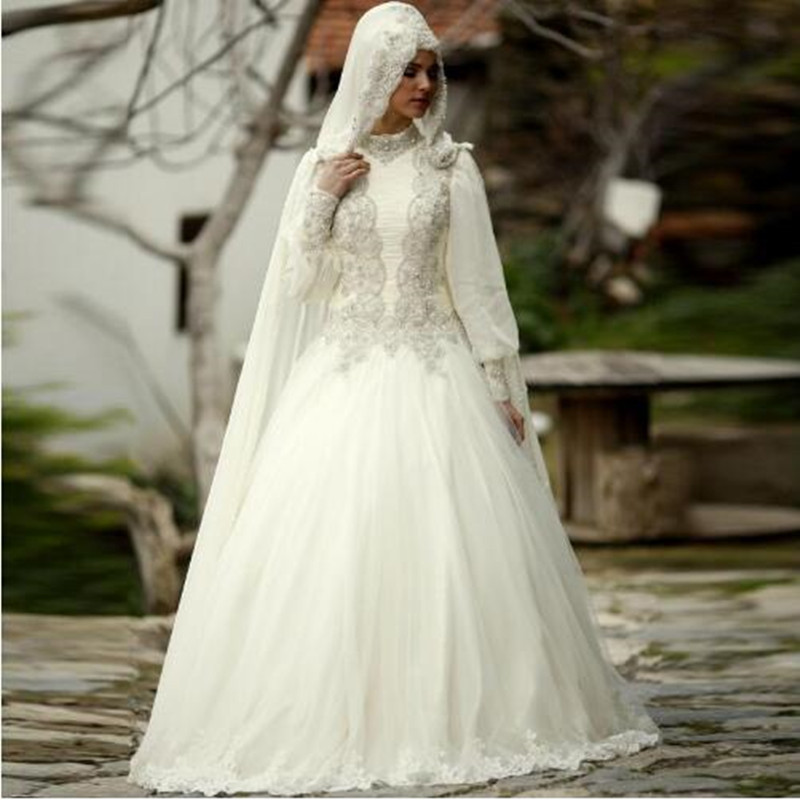 Bridal Dress Wedding Dress Muslim font b Hijab b font High Neck Long Sleeve hochzeitskleid Lace