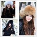 Классические женские 100% лисий мех шапки дамы зимой теплую подлинная енота меховая шапка с меховым NM12585