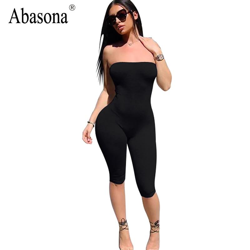 Abasona Axelbandslös svart solid spandex leksaker Off shoulder sommar shorts rompers kvinna jumpsuit backless kvinnliga bodywear