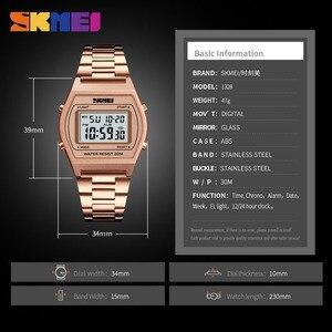 Image 5 - SKMEI Dames Fashion Horloges Outdoor Sport Luxe Legering Digitale Horloge Bandje Business Relogio12/24 Uur Relogio Feminino Digitale