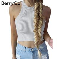 BerryGo chic knitted halter bustier crop top Women summer beach sexy white camis Off shoulder elastic tube tank tops knitwear