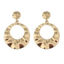 Europe and the United States metal minimalist fashion geometric round earrings women light jewelry wholesale