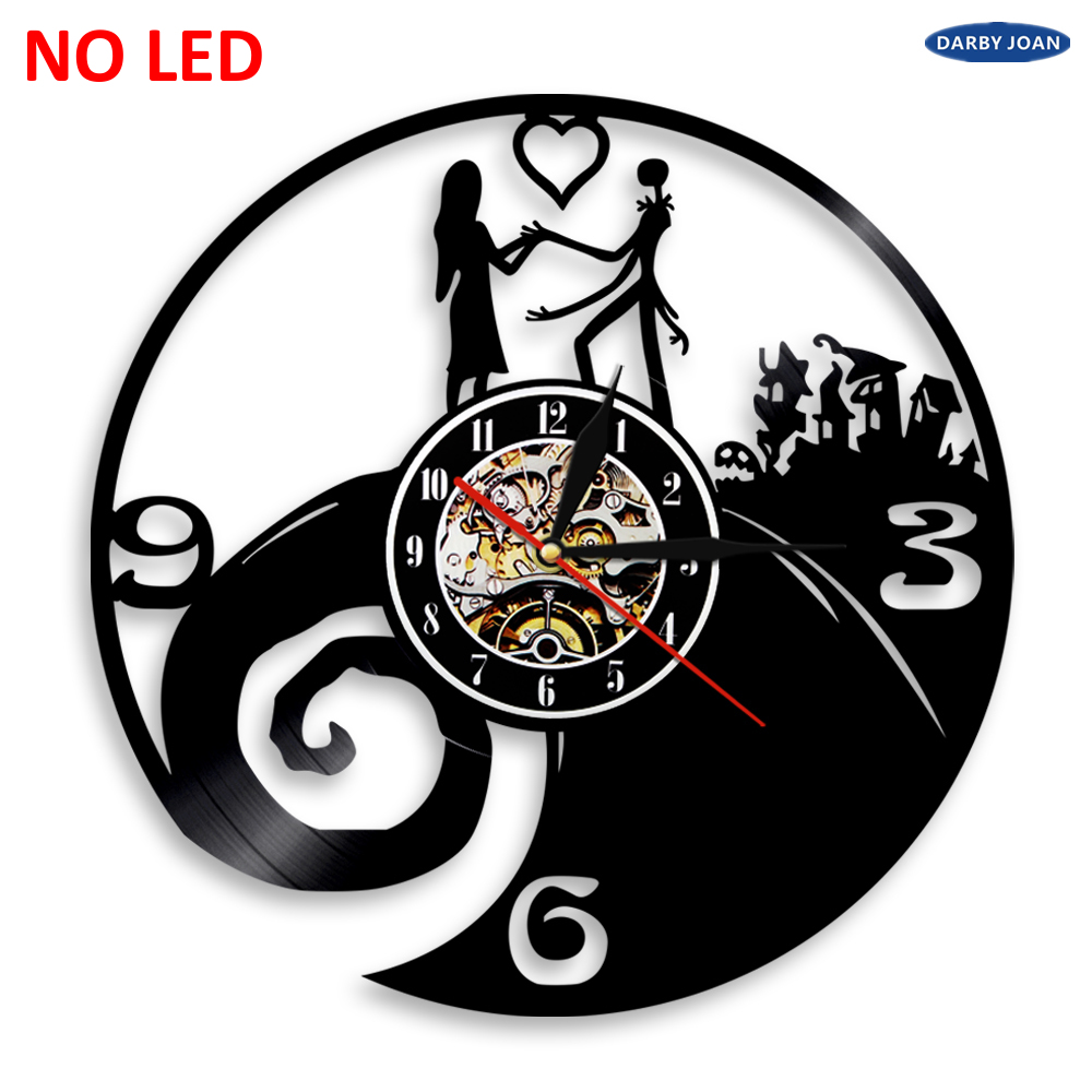 Nightmare Before Christmas Silhouette Vinyl Clock LED Backlight ...