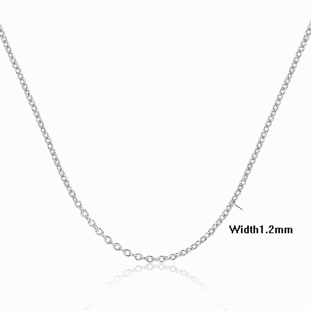 Windshow 4Sizes Available 925 Sterling Silver Cross Rolo Chain Necklace Women Girls 40/ 45/ 50/ 60cm+5cm Jewelry kolye collares