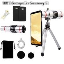 18X Optical Telescope Objective Camera Telephoto Lens Holder Tripod+Case+Aluminum Tripod For Samsung Galaxy S5/S6 Edge S7 PLUS