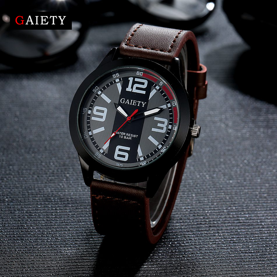 Gaiety Fashion Men Watch Casual Black Face Leather Strap Quartz Wristwatch Watches For Men Business Sport Classic Gift Clock kingsky new fashion small women watches famous design quartz watch black pu leather strap wristwatch