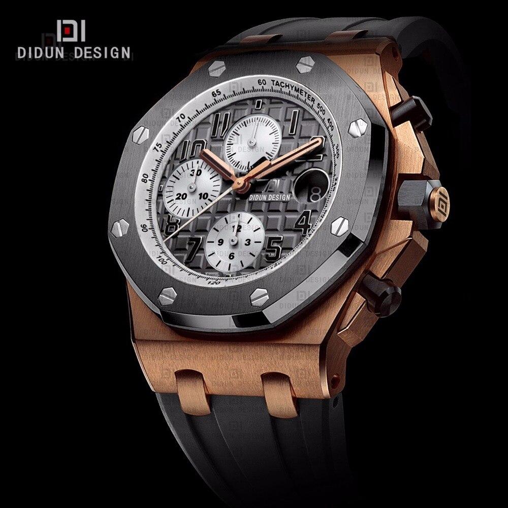 didun мужчины часы лучший бренд полунавесной люкс кварцевые часы мужчины стали военно-спортивный мужские часы из розового золота наручные часы 50 м воды устойчивостью