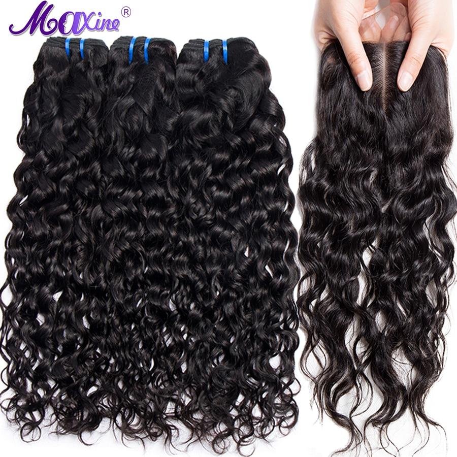 Maxine волос 3 Связки Бразильский волна воды натуральные волосы с 4*4 дюймов синтетическое закрытие шнурка отбеленные узлы не волосы remy ткань шт...