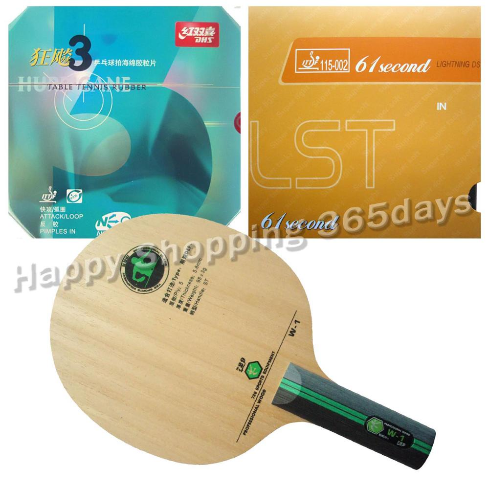Pro Table Tennis PingPong Combo Racket RITC 729 W-1 Long Shakehand ST with 61second DS LST and DHS NEO Hurricane 3 galaxy yinhe emery paper racket ep 150 sandpaper table tennis paddle long shakehand st