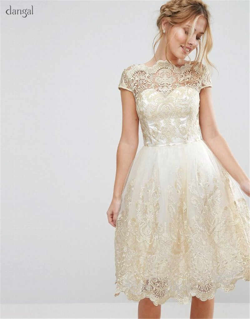 Dangal Wedding Guest Dress Eveving Party Flower Girl Dresses Short Party Dress Lace Midi Dress With Embroidery Sequin