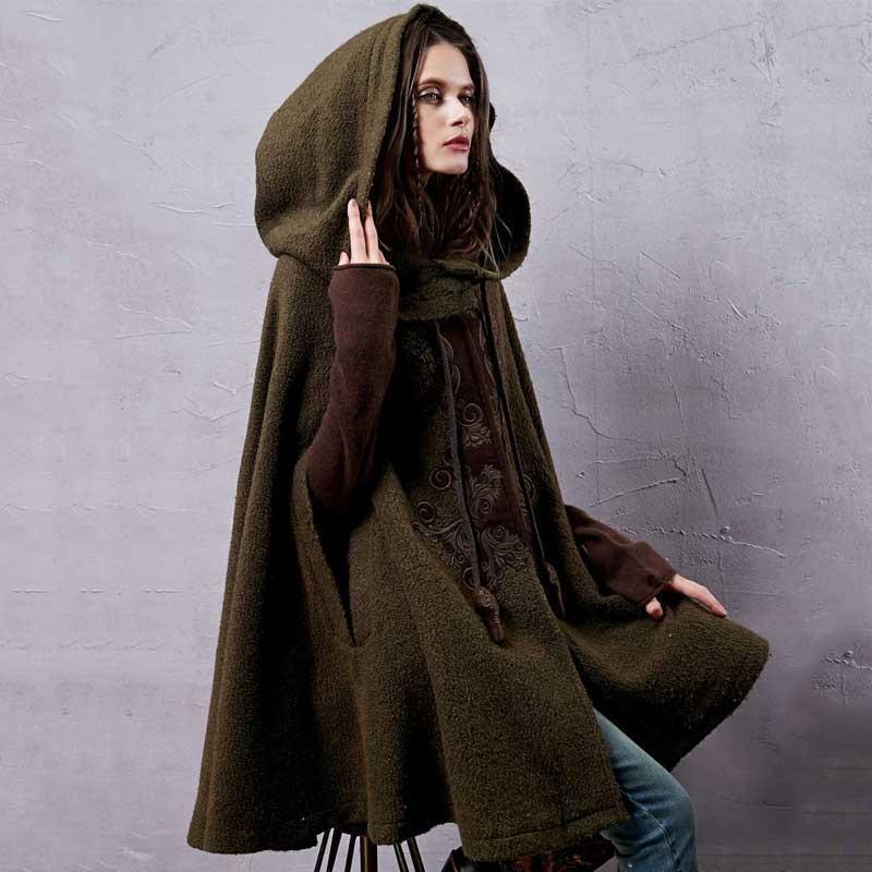 ARTKA Women s Winter New Vintage Warm Woolen Hoodie Cloak Coat Embroidered Drop Shoulder Sleeve Wool
