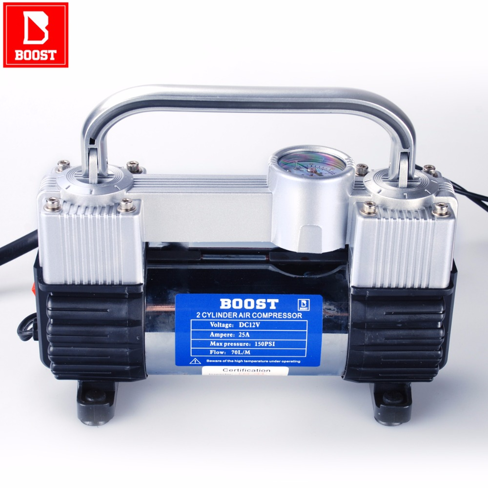 BOOST 582Y 12 Volt Car Electric Air Compressor Air Pump 150 PSI Portable For Car Motorcycles Bicycles