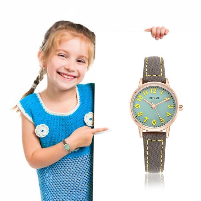 KEZZI Kids Watches Top Brand Waterproof Children Watches Quartz Leather Wristwat