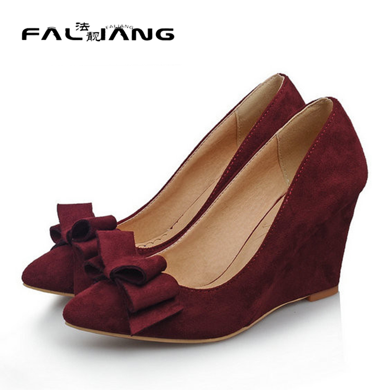 ФОТО New arrive women sweet nubuck leather pointed toe wedges dress shoes large size 34-43