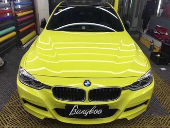 New Type 1.52*18m Air Free Bubbles PVC Glossy Crystal Lemon Yellow Custom Car Vinyl Wrap