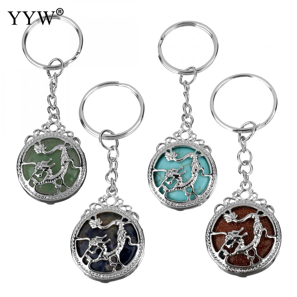 Key Chain Natural Stone Keychain Dragon Wire Wrap Blue Turquoises