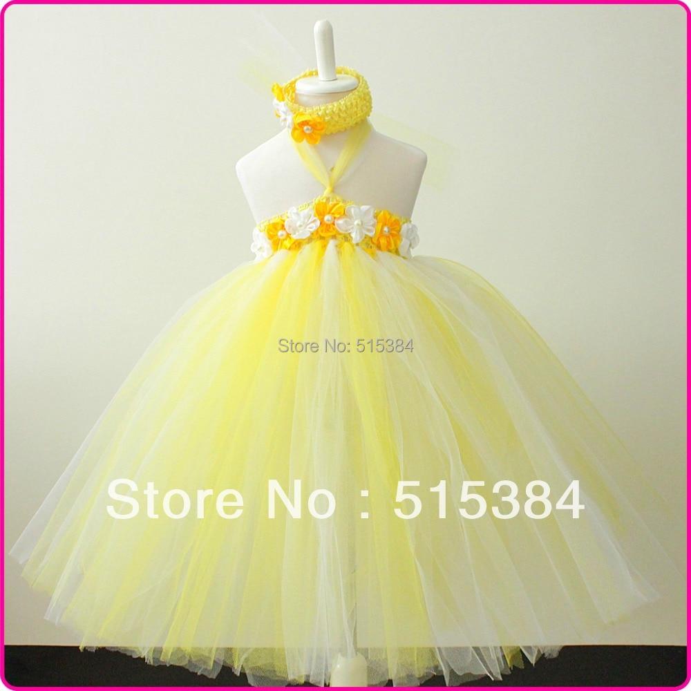Light Yellow White Tutu Dress Fluff Birthday Weddings Baptism Gifts